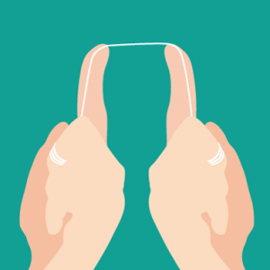 デンタルフロス 糸巻きタイプ 上の奥歯への持ち方