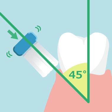 歯ブラシの「当て方」は歯と歯茎の境目を「45度」に当てる
